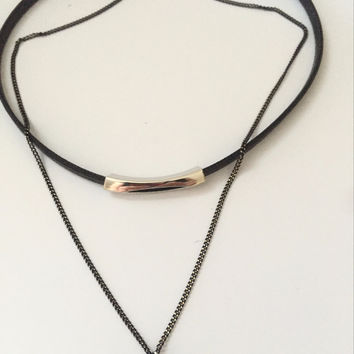 Dani Double Choker Bar Necklace