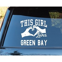 This Girl Loves Green Bay Decal Sticker Car Window Truck Laptop Tablet Packer...