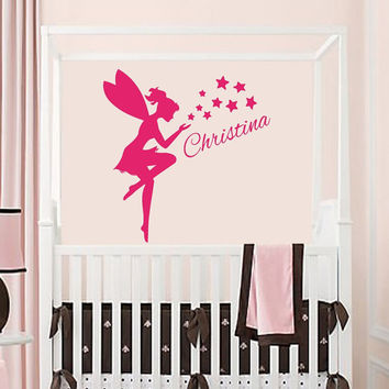 Wall Decals Vinyl Decal Sticker Personalized Name Girl Tinkerbell Fairy Dust Mural Home Interior Design Kids Nursery Baby Room Decor KT61