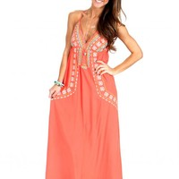 Sunny Afternoon Coral Maxi Dress | Monday Dress Boutique