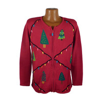 Ugly Christmas Sweater Vintage Tacky Holiday Party Women's Cardigan size M