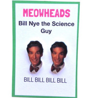 Bill Nye the Science Guy Stud Earrings by MEOWHEADS on Etsy