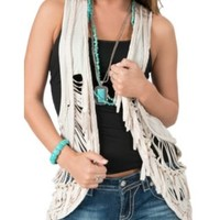 Rock & Roll Cowgirl Women's Oatmeal with Braided Trim & Fringe Slash Vest