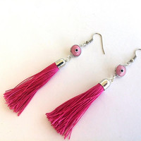 Tassel Earrings, Evil Eye Earrings,  Pink Earrings, Handmade Jewellery, Birthday Gift, Fuchsia Earrings, Christmas Gift, Birthday Gift, Boho