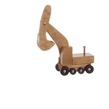 Wooden Excavator (rides on Low Boy Truck) - Toys