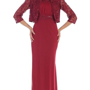 May Queen - Lace Ornate Ruched Bodice Sheath Prom Dress