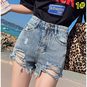 Summer thin new high waisted black ripped fringe versatile with skinny student jeans