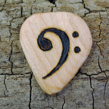 ONE ENGRAVED Wooden Guitar Pick - Bass Clef or Other Designs Available