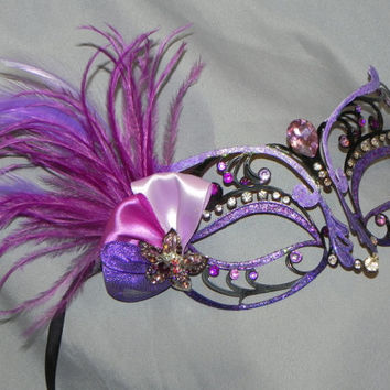 Black Metal Mask with Decorations in Purple
