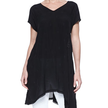 Asymmetric Georgette V-Neck Tunic, Black, Size: