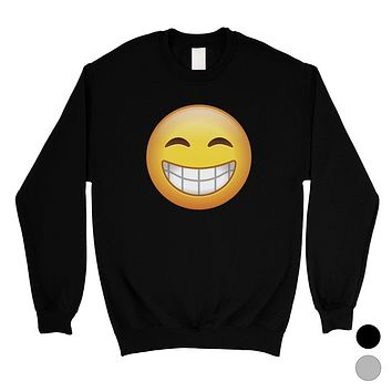 Emoji-Smiling Unisex Crewneck Sweatshirt Perfect Happy Entertaining