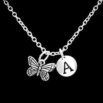 Choose Initial Letter Monarch Butterfly Gift For Her Nature Animal Necklace