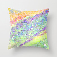 Throw Pillow Cover Color Blast 1 Modern Geometric Shapes Indoor Outdoor Pillow Covers multicolor art green yellow pink purple blue neon