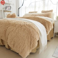 Winter Bedding set Long hair Cashmere sheet pillowcase&duvet cover set