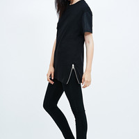 Systvm Zip Side Iron Tee in Black - Urban Outfitters
