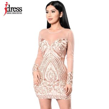 IDress Free Shipping Women Summer Bodycon Dress Black Gold Sequin Dress Mesh Long Sleeve Mini Party Club Wear Sexy Sequin Dress