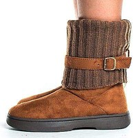 Tahoe08 by Bamboo, Round Toe Knitted Ankle Shaft Fur Lined Winter Boots