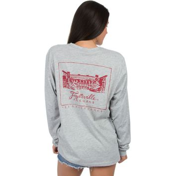 University of Arkansas Long Sleeve Stadium Tee in Heather Grey by Lauren James