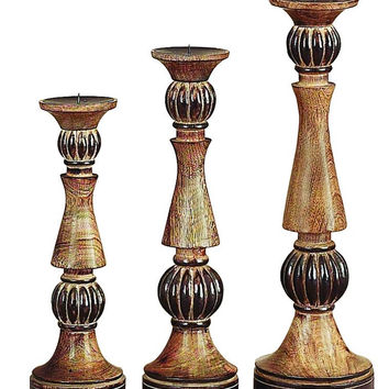 Wood Candle Holder S/3 For Extraordinary Lights