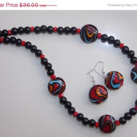 33%OFF Black and Red Lampwork Necklace and Earrings