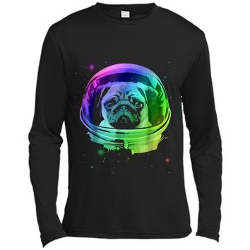 Pug Astronaut In Space T-shirt Long Sleeve Moisture Absorbing Shirt