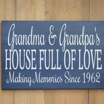 Grandparents Wood Sign Personalized Gift Rustic Wooden Plaque Grandchildren Love Memories