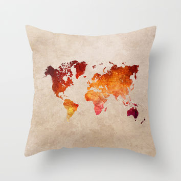 Red World Map Throw Pillow by Jbjart | Society6