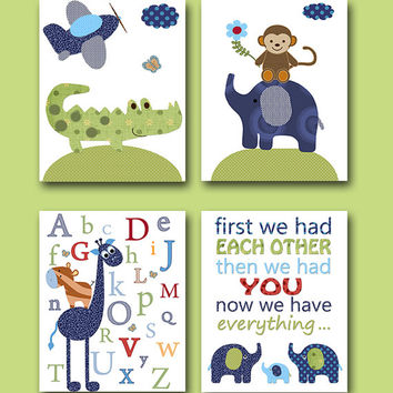 Childrens Art Kids Art Giraffe Alphabet Nursery Elephant Monkey Crocodile Baby Boy Nursery Baby Nursery Print set of 4 8x10 Green Blue Navy