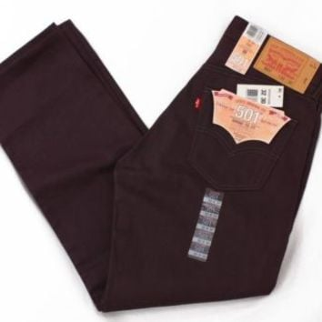 Levi's 501 Men's Shrink-To-Fit Straight Button-Fly Denim Jeans Eggplant 44W 32L