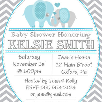 Grey and Blue Elephant Baby Shower Personalized Invitations