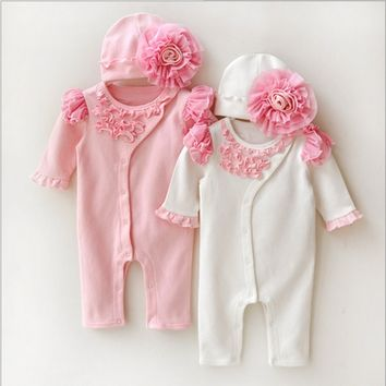 Princess Style Baby Girl Clothes Kids Girls Lace Rompers+Hats Baby Clothing Sets Infant Jumpsuit