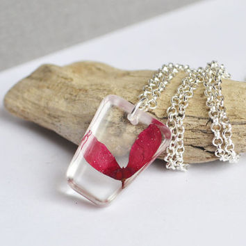 Samara Jewelry, Botanical Plant Resin Necklace, Red Maple Seed Key, Nature Inspired Samara Necklace
