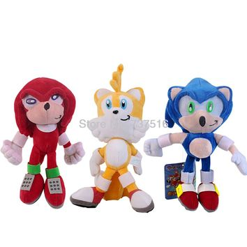 New Cute Blue Sonic The Hedgehog Red Knuckles the Echid Yellow Tails Miles Prower Stuffed Plush Doll Toys 8 inch With Tag