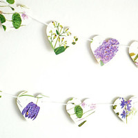 Floral decor, Paper bunting, Wedding Decor, Heart garland, Lilac flowers, Photo Backdrop, Paper garland, Heart Banner, Botanical, Purple