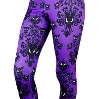 Haunted Mansion Wallpaper Pattern Purple Leggings Small