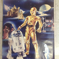Original 1978 Star Wars Promo Poster R2D2 C3PO from Procter Gamble