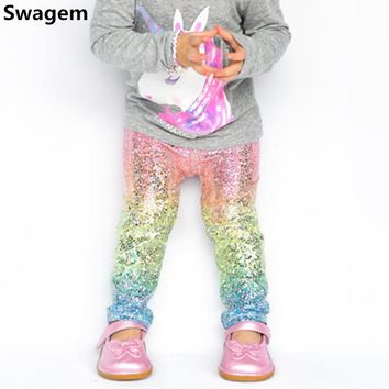 Girls Leggings Baby Rainbow Unicorn Sequin Skinny Leggings Children Cute Sequin Pencil Pants&Trousers Baby Girls Clothes D0267