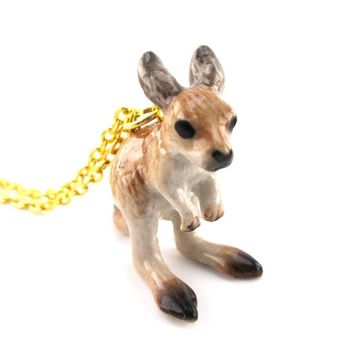 3D Porcelain Kangaroo Joey Shaped Ceramic Pendant Necklace