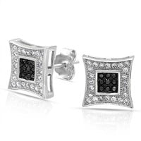 Black White Square Micro Pave CZ Kite Stud Earrings Sterling Silver