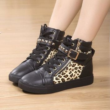 New spring/autumn/winter shoes women rivets Leopard canvas shoes +PU fashion high running shoes for leisure sneakers
