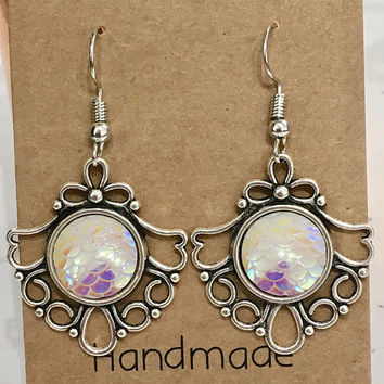 Ice Mermaid Scales Antique Silver  Hook/Dangly Earrings
