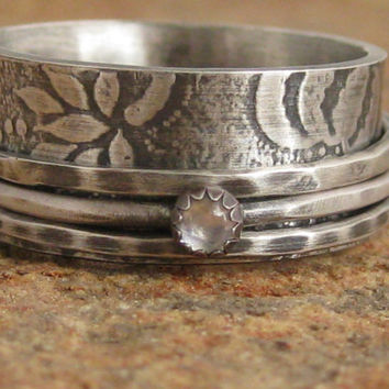 Sterling silver spinner ring Victorian romantic moonstone wedding band size 8 9 fidget worry anxiety