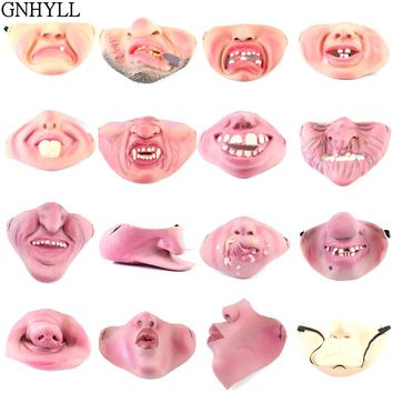 GNHYLL Masks 20 Style Funny Scary Mask Party Halloween Fool's Day Clown latex Mask Cosplay Costume Half Face Mask