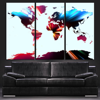Modern Colorful World Map Canvas Print - Contemporary 3 Panel Triptych Colorful Abstract Rainbow Colors Large Wall Art