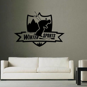 Skiing Wall Decals skier Wall Decals winter sports wall decals ski emblem wall decals sports shop wall decals kik2586