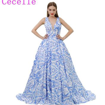 2018 Blue Floral Print Long Prom Dresses V Neck Sleeveless A-line Low Back Formal Evening Dress Teens Party Dress Custom Made