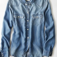 AEO Women's Western Button Down Shirt (Medium Wash)