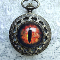 Steampunk dragon eye pocket  watch, dragon eye watch pendant on bronze chain with black dragon vein agate beads