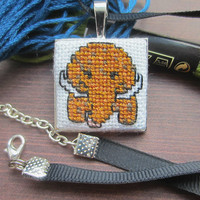 Woolly Mammoth Necklace, Cross Stitch Necklace, Cross Stitch Pendant, Handmade Necklace, Cute Necklace, Quirky Necklace, Gift for Her