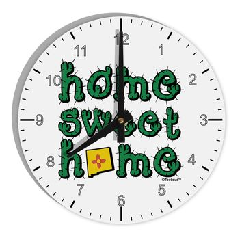 """Home Sweet Home - New Mexico - Cactus and State Flag 8"""" Round Wall Clock with Numbers by TooLoud"""